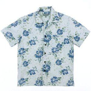 KONA WIND Men's Floral Hawaiian Blue Shirt Small